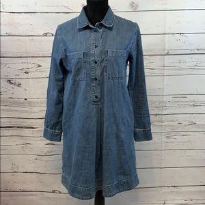 Madewell Denim Popover Shirt Dress Ling Sleeve M